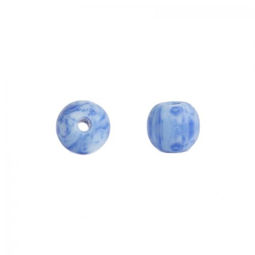 Blue and White Round Glass Beads 8mm Pk10