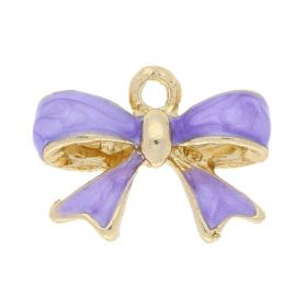 SweetCharm™ Purple Bow / charms pendant / with cubic zirconia / 17.5x15.5mm  / silver plated / 1 pcs