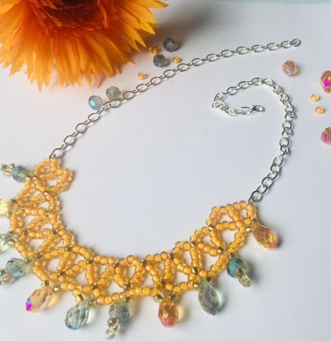 How to make a netted collar - step by step jewellery making tutorial