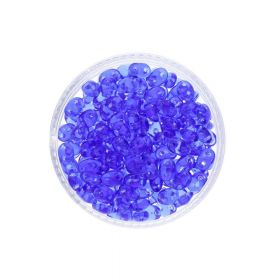 SuperDuo™ / glass beads / 2.5x5mm / Transparent / Sapphire / 10g / ~140pcs