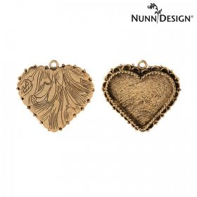 Nunn Design Antique Gold Charm Setting Fancy Heart 30x35mm Pk1