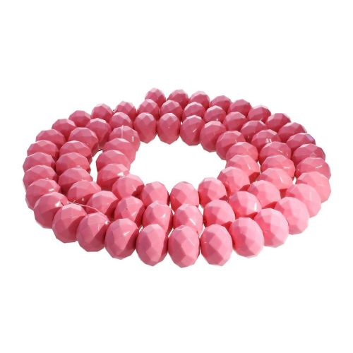 Milly™ / rondelle / 8x10mm / bright pink / 70pcs