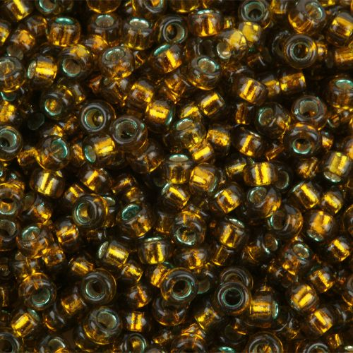 Miyuki Size 15 Round Seed Beads Dyed Silver Lined Golden Olive 8.2g Tube