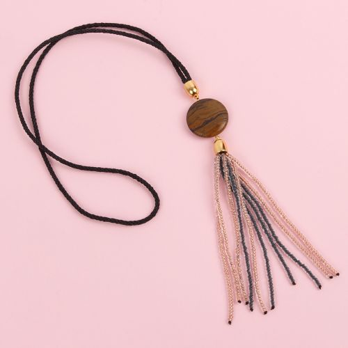 """X"" Tiger Eye Beaded Tassel Pendant and Kumihimo Braid Kit - Makes x1"