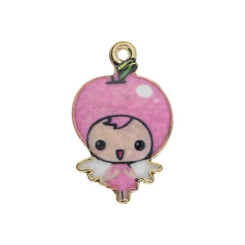 SweetCharm ™ Baby Girl / charm pendant / 23x14x1.5mm / gold plated / light pink / 2pcs