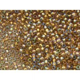 TOHO™ / Round 11/0 / Inside colour Rainbow / Crystal / Gold Lined / 10g / ~ 1100pcs