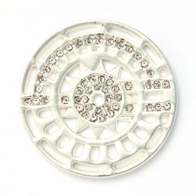 Matte Silver Plated Crystal Fancy Coin Disk for Interchangeable Locket 32mm Pk1