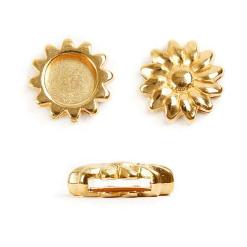 X-Gold Plated Zamak Sunflower Slider Charm Bead 20mm Pk1