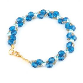 Blue Side by Side Montee Weave Bracelet Kit  TAMB - Makes x2