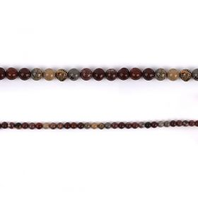 "Red Picture Jasper Round Semi Precious Beads 6mm 15"" Strand"