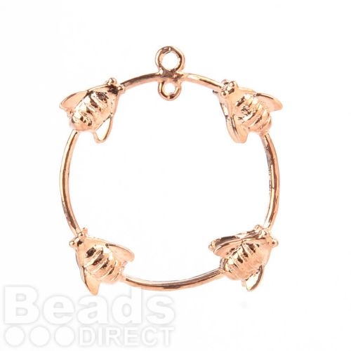 Rose Gold Plated Ring with Wasps 2 Loops at Top 23mm Pk1