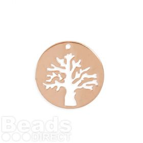 Rose Gold Plated Brass Tree Cut Out Circle Charm 19mm Pk1
