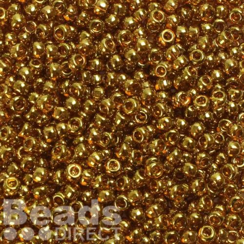 Toho Size 6 Round Seed Beads Gold Lustered Transparent Pink 10g