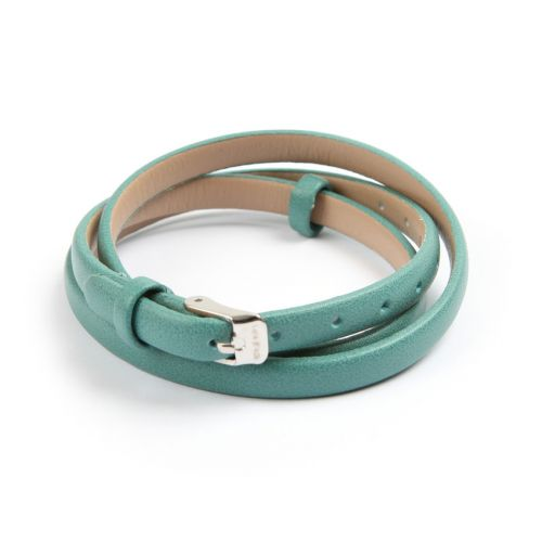 X Green Faux Leather Bracelet Strap with Buckle and Holes 62cm Pk1