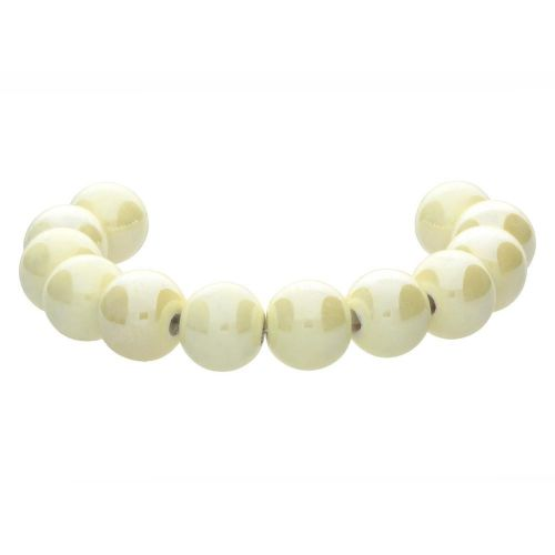 Ceramic beads / round / 10x11mm / cream / hole 2.3mm / 4pcs