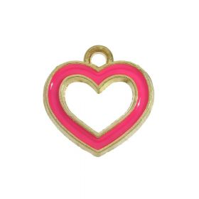 SweetCharm ™ Heart / charms pendant / 14x13.5x2mm / magenta / gold plated / 2pcs