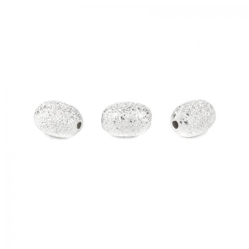 X-Sterling Silver 925 Oval 4x6mm Frosted Beads Pk3