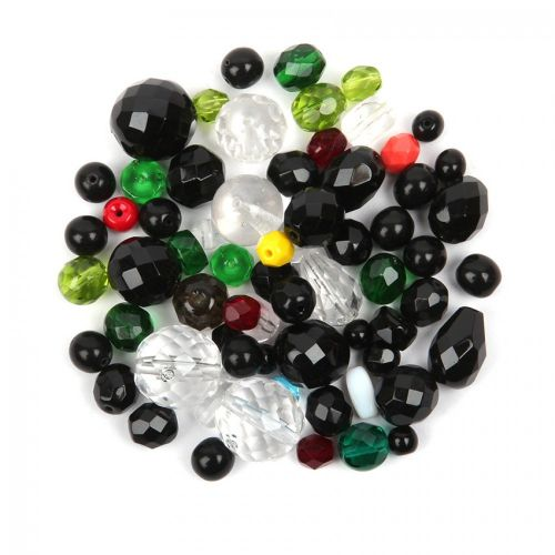 Preciosa Czech Glass Bead Mix Black, Green & Clear 50g