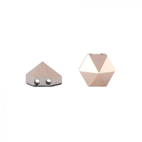 5060 Swarovski Hexagonal Spike Two Hole Bead 7.5mm Crystal Rose Gold Pk3