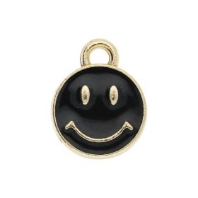 SweetCharm ™ Smile / charm pendant / 12x10x2mm / gold plated / black / 2pcs