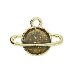 SweetCharm ™ Saturn / Pendant / 12x16x2.5mm / gold plated / brown / 2pcs