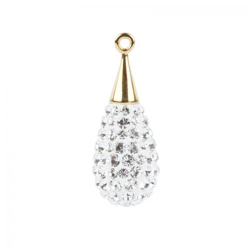 X- 67563 Swarovski Crystal Pave Drop 10x26mm Gold Plated Crystal Pk1