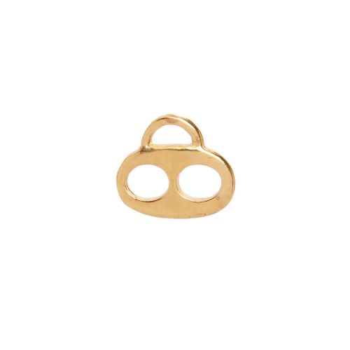 X-Gold Plated Two Hole Flat Charm Carrier 13x15mm Pk1
