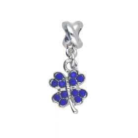 Glamm ™ Clematis / pendant charms / with cubic zirconia / 27.5x10.5x8.5mm / silver plated / Sapphire / 1pcs