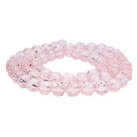 CrystaLove™ crystals / glass / faceted round / 8mm / pink / transparent  / 65pcs