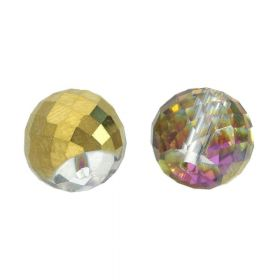 CrystaLove™ crystals / glass / faceted round / 8x10mm / grey-gold / iridescent / 6pcs