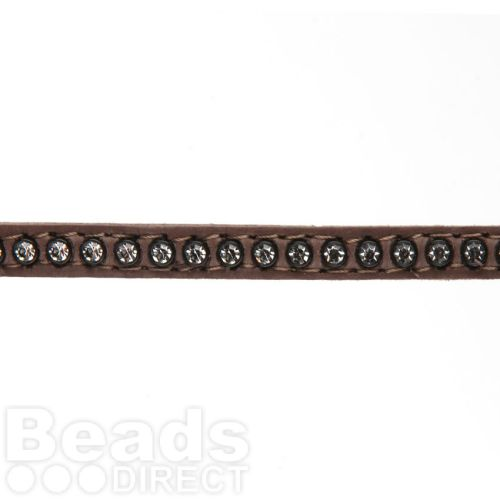 Dark Taupe Swarovski Real Leather with Crystals 6mm approx 48cm