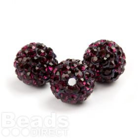 Dark Amethyst 10mm Essential Shamballa Fashion Round Pk3