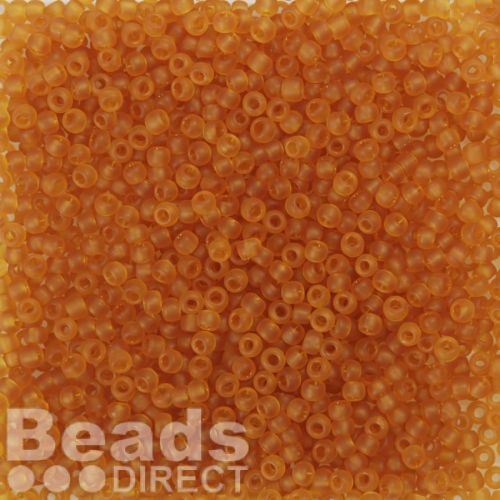 Toho Size 8 Round Seed Beads Transparent Frosted Dark Topaz 10g