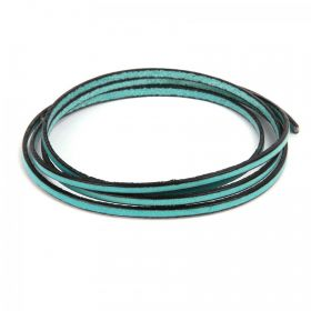 Seafoam Flat Genuine Leather Cord 3mm Pre Cut 1metre