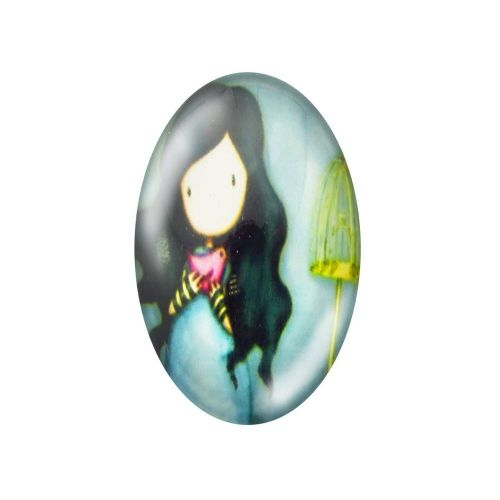 Glass cabochon with graphics oval 18x25mm PT1502 / blue / 2pcs