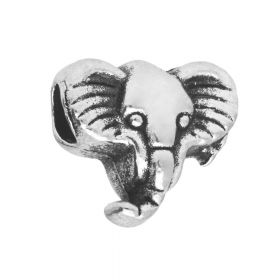 Elephant / spacer / 12x11x7mm / silver / 3.5mm hole / 2pcs