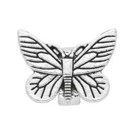 Butterfly / spacer / 22x16x12mm / silver / hole 10x7mm / 1pcs