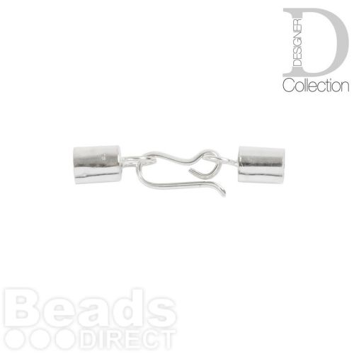 Sterling Silver Barrel Cord Ends and Hook Clasp 4mm 1xSet