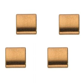 Hematite / natural stone / rectangle with 2 holes / 5x5x2mm / bronze / hole 0.7mm / 10 pcs