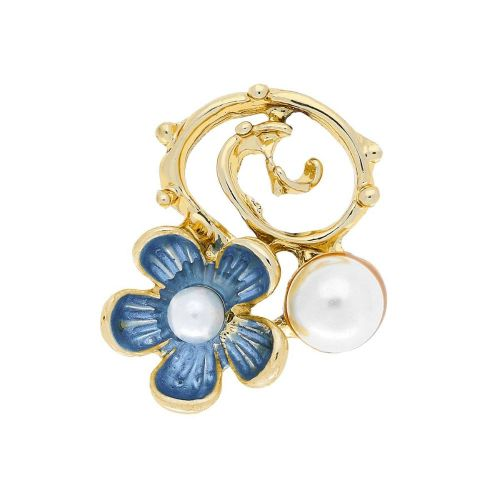 Flower with pearls / spacer / 21x17x6mm / Gold, light blue / hole 2mm / 2pcs