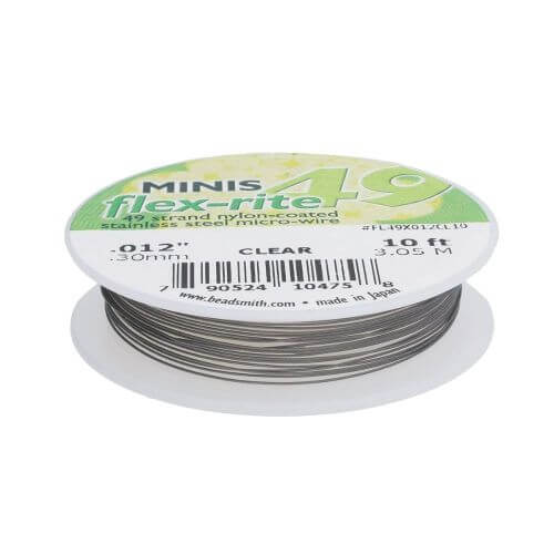 BEADSMITH® / Flex-Rite® 49 wire / surgical steel / .012inch / Crystal / 3m