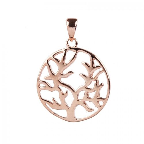 X-Rose Gold Plated Sterling Silver 925 Tree of Life Charm 18mm Pk1