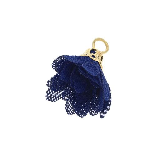 Tulle flower / with openwork tip / 18mm / Gold Plated / cornflower blue / 4 pcs