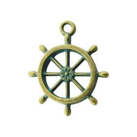 Wheel / charm pendant / 28x24mm / antique bronze - aqua / hole 2mm / 2pcs