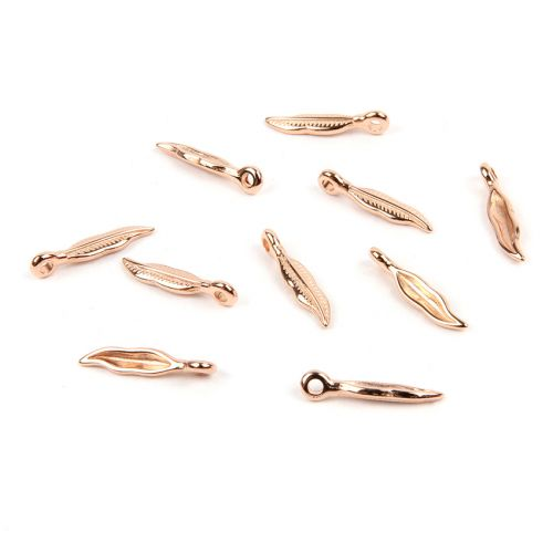 Rose Gold Plated Zamak Leaf Charm with Threading Loop 4x13mm Pk10