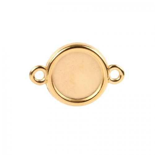 Gold Plated Zamak Round Connector Setting 15mm Pk1