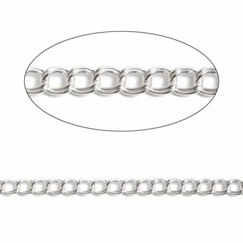 Sterling Silver Parallel 6mm Chain (sold per inch)