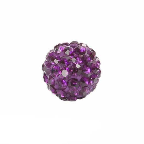 X Dark Amethyst Crystal 10mm Premium Shamballa Fashion Round Pk1