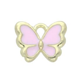 SweetCharm ™ Butterfly / pendant charms / 10x12.5x2mm / gold plated / pink / 2pcs