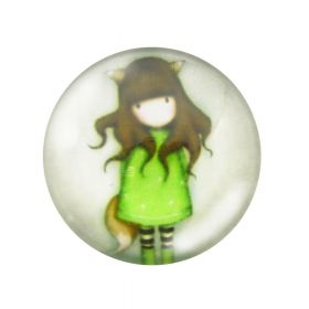 Glass cabochon  with graphics 20mm PT1508 / green / 2pcs